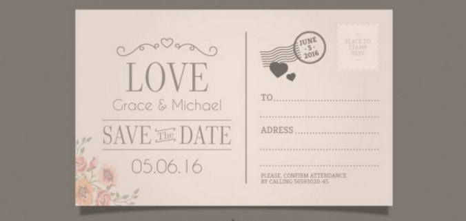 20wedding invitation in postcard style