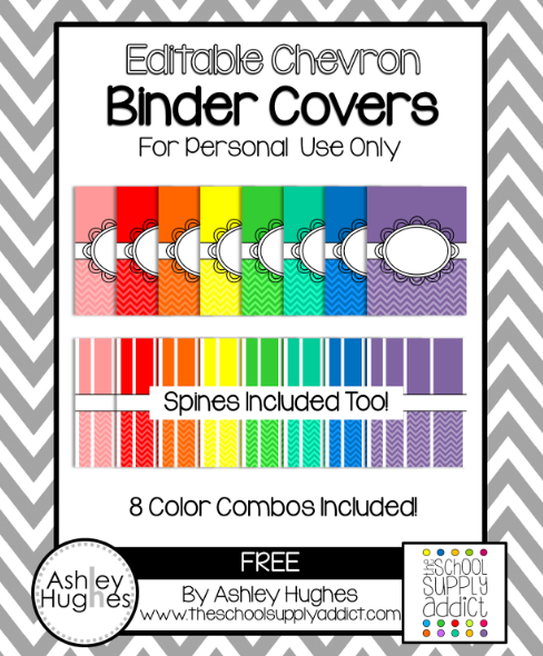 Editable Shaded Chevron Binder Covers