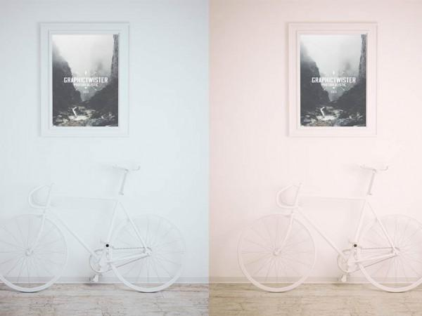 framed_picture_with_bike_mockup