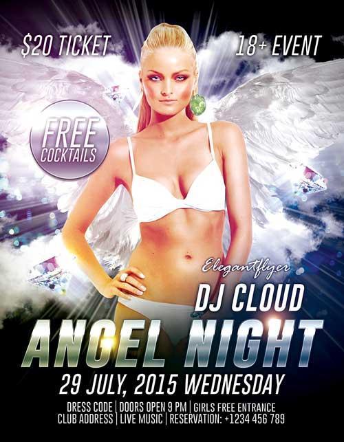 free_angel_night_psd_flyer_template