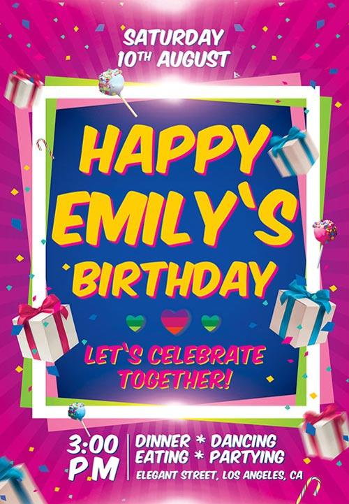 Beautiful  Free Birthday Flyers Templates  Utemplates