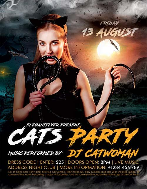 cats_party_club_free_flyer_template