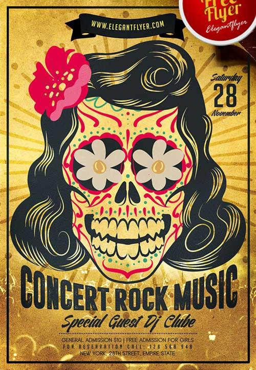 Free Indie Rock Music Events Flyers Templates  Utemplates