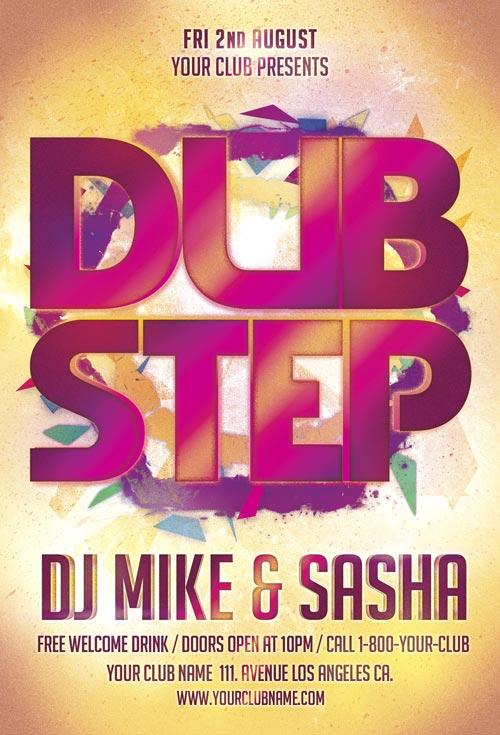 free_dub_step_party_flyer_template