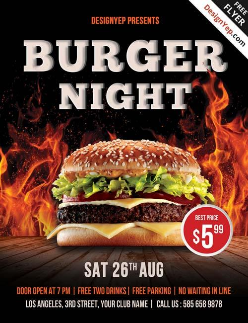 free_burger_night_psd_flyer_template