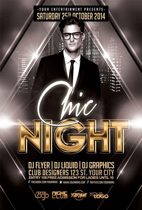10free chic night free flyer template free_chic_night_free_flyer_template - Free Psd Flyer Templates