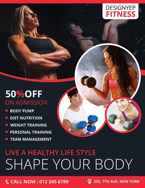Fitness Club Gym Free Flyer Psd Template.  Fitness_club_gym_free_flyer_psd_template  Free Fitness Flyer Templates