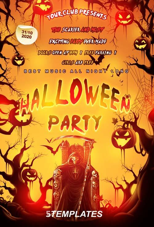 20 free halloween flyers psd templates utemplates for Free halloween flyer templates