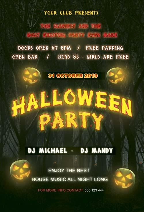 20 free halloween flyers psd templates utemplates 4free halloween party night flyer template freehalloweenpartynightflyertemplate saigontimesfo