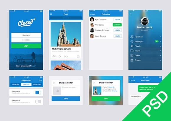 100 of the best and free app psd ui kits templates for App templates free