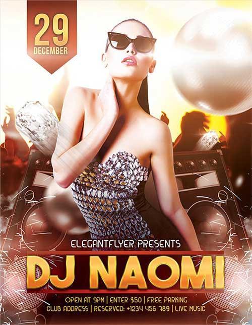 guest_dj_naomi_free_psd_flyer_template