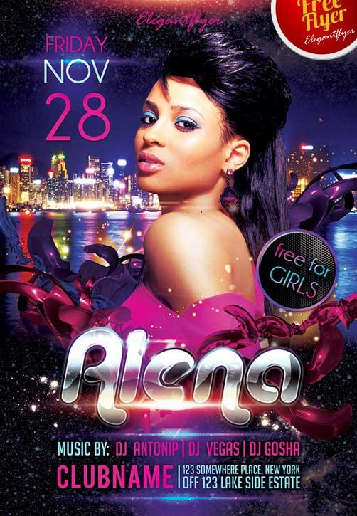 guest_dj_party_alena_free_club_and_party_flyer