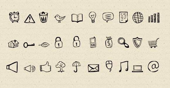 30_handdrawn_psd_icons
