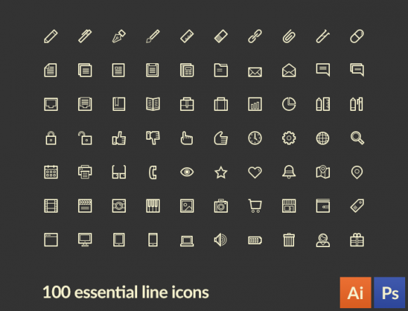 lineart_100_essential_line_icons