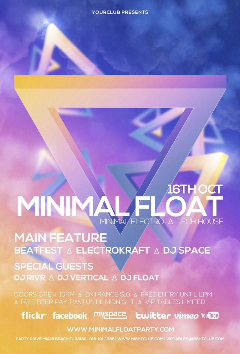 minimal_float_electro_free_electro_club_psd_flyer_template