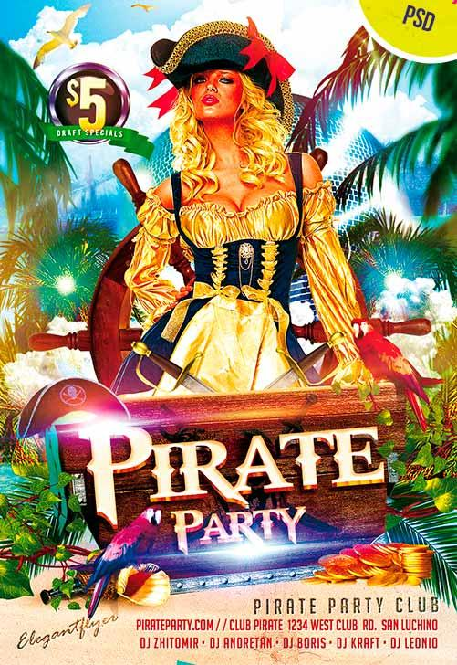 Pirate Club Free Flyer Psd Template