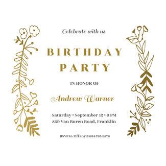side_by_side_gold_birthday_party_invitations