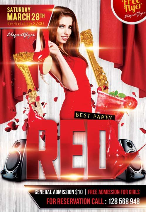 red_free_club_flyer_psd_template