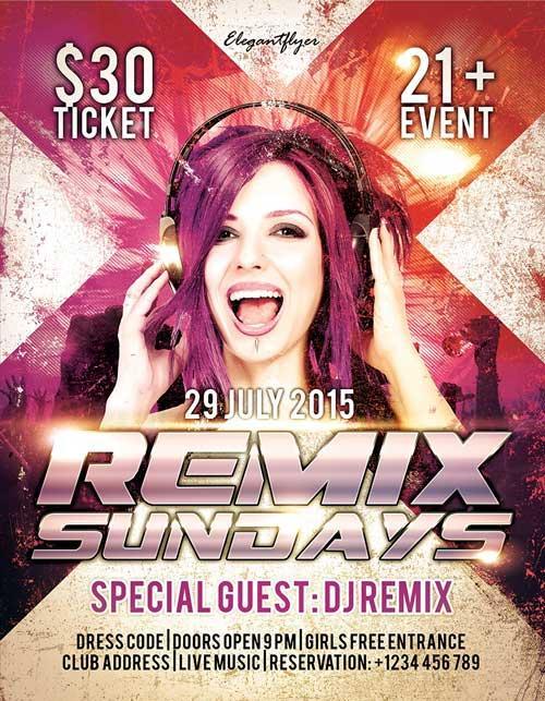free_remix_sundays_psd_flyer_template