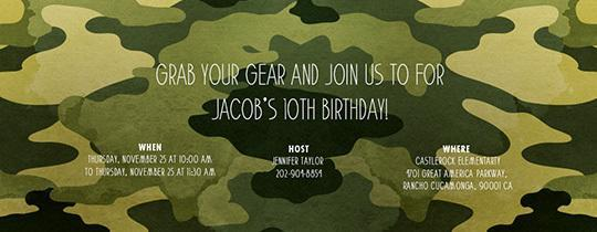 150 free printable birthday invitation card templates page 2 of free camo party card bookmarktalkfo Image collections
