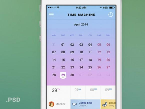 time_machine_mobile_calendar_psd