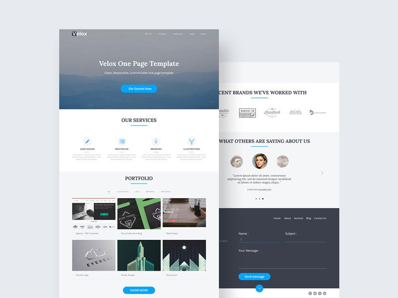 45 beautiful free portfolio psd website templates utemplates velox is a clean and responsive one page template suited for creative agencies you can also use this free psd websites as a portfolio maxwellsz