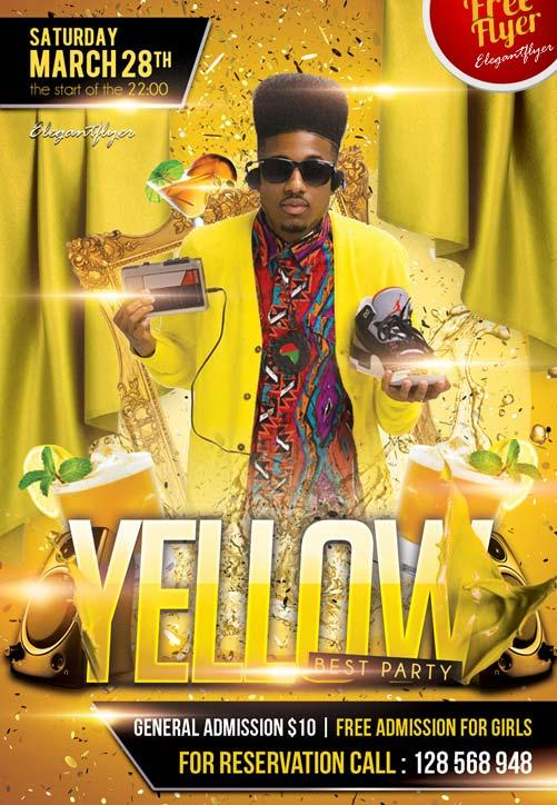 yellow_free_club_flyer_psd_template