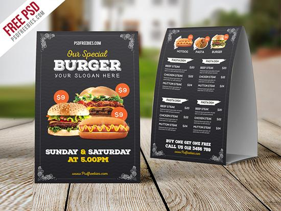 12 tent table card mockups psd templates utemplates for Restaurant table menu