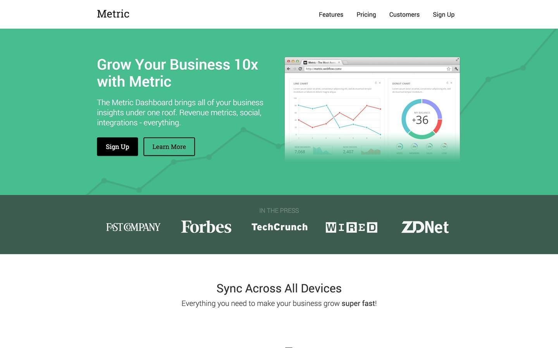 metric free webflow template
