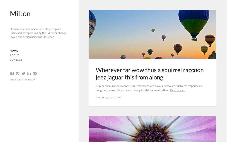 milton free webflow template