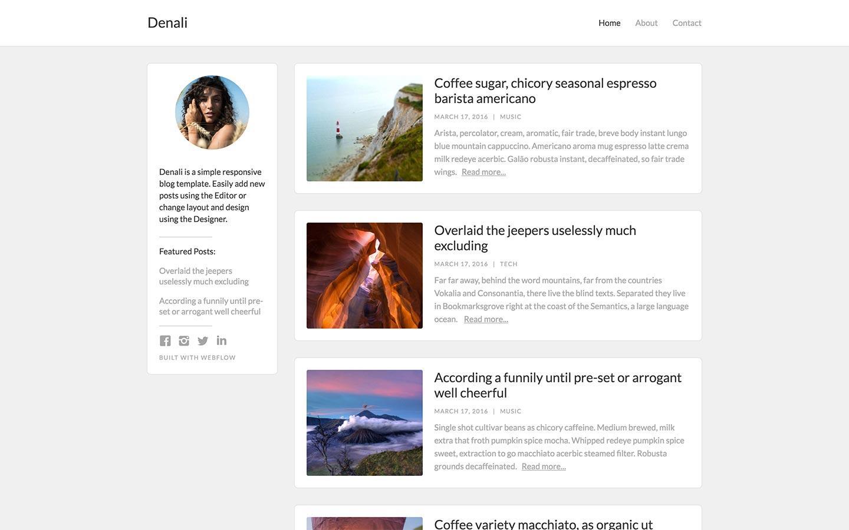 denali free webflow template
