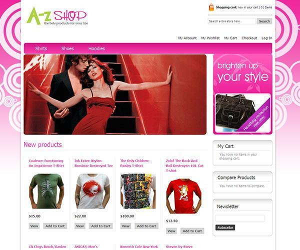 az shop free magento template