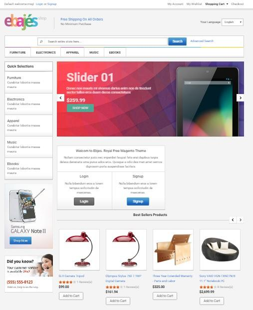 ebajes free responsive electronics magento template free magento template