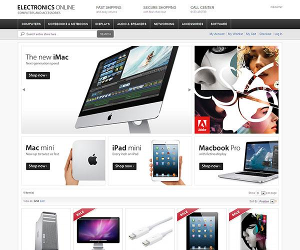 electronics online free magento template