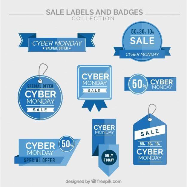 collection_of_cyber_monday_blue_stickers