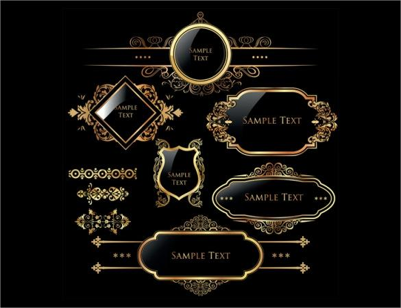 golden_free_labels_on_blackground_template_download
