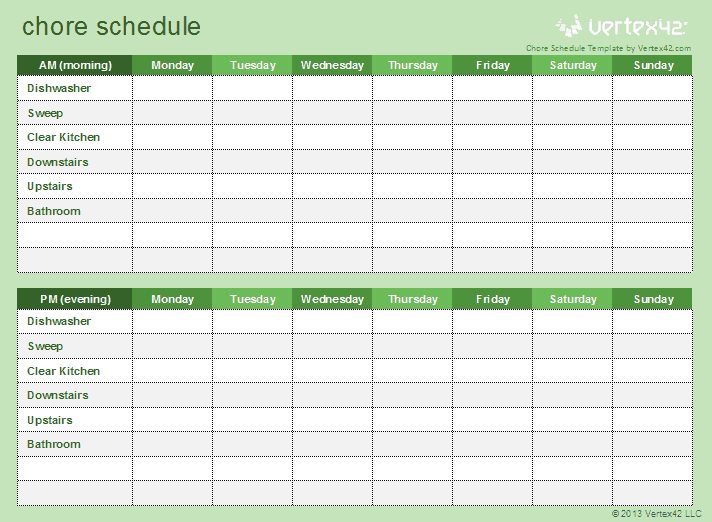 70 free schedule planner templates word excel for Chore list template for kids