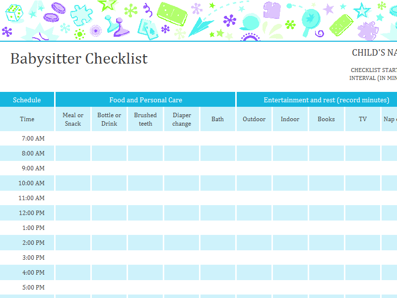 babysitter checklist with schedule