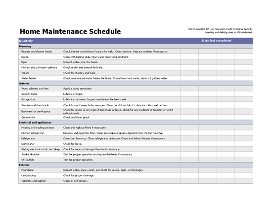 26home maintenance schedule