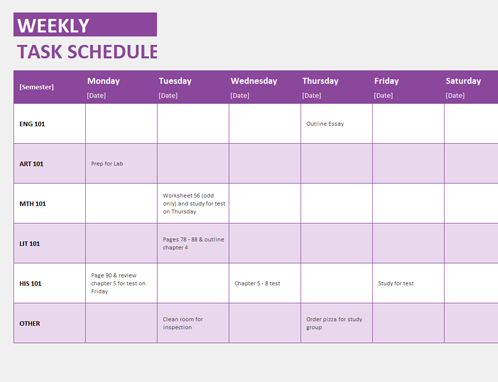 schedule template weekly