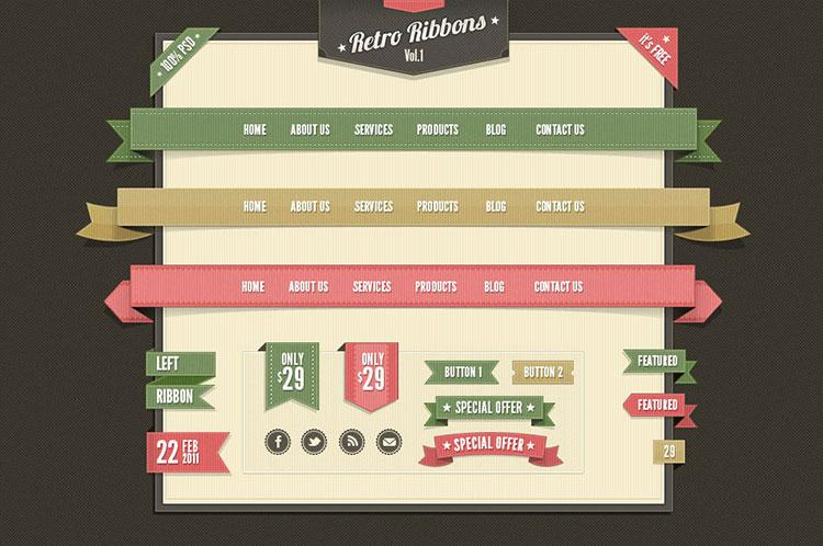 free_retro_web_ribbons_vintage_psd_pack