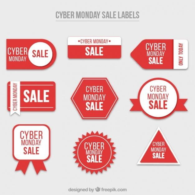 set_of_cyber_monday_red_stickers