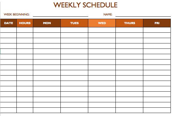5day work schedule templates