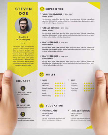 102Yellow Resume CV Template  Resume Template Psd