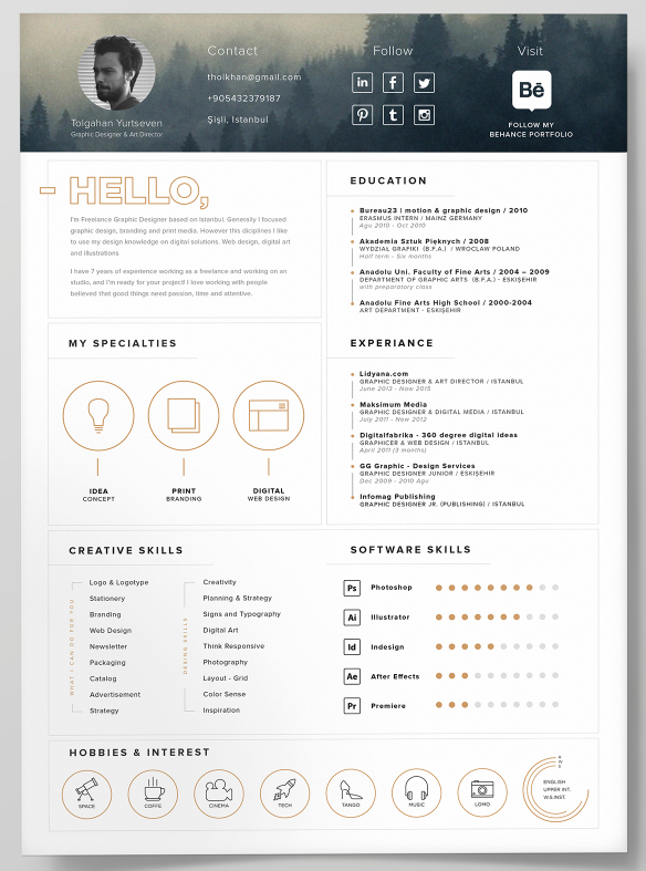 67FREE Resume Template + Icons (Self Promotion)  Print Free Resume