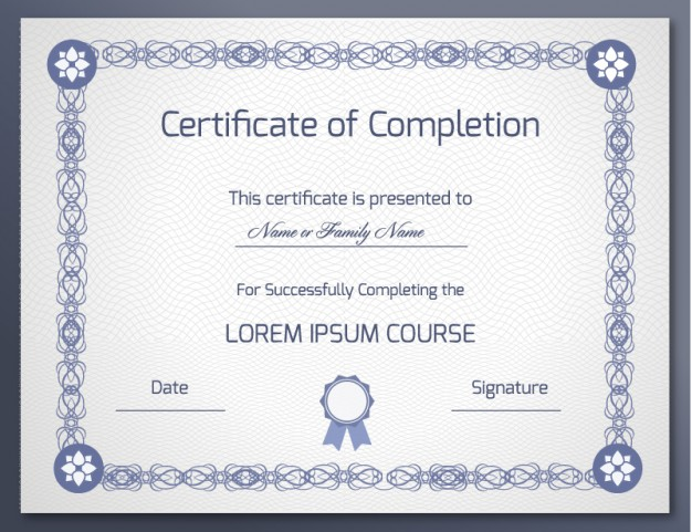16Elegant Certificate Of Completion Template  Certification Of Completion Template