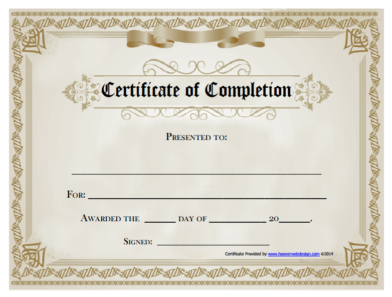 14Free Printable Certificate Of Completion Award Template (PDF)  Free Blank Printable Certificates