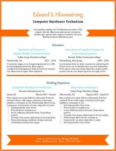 orange chevron .docx resume template