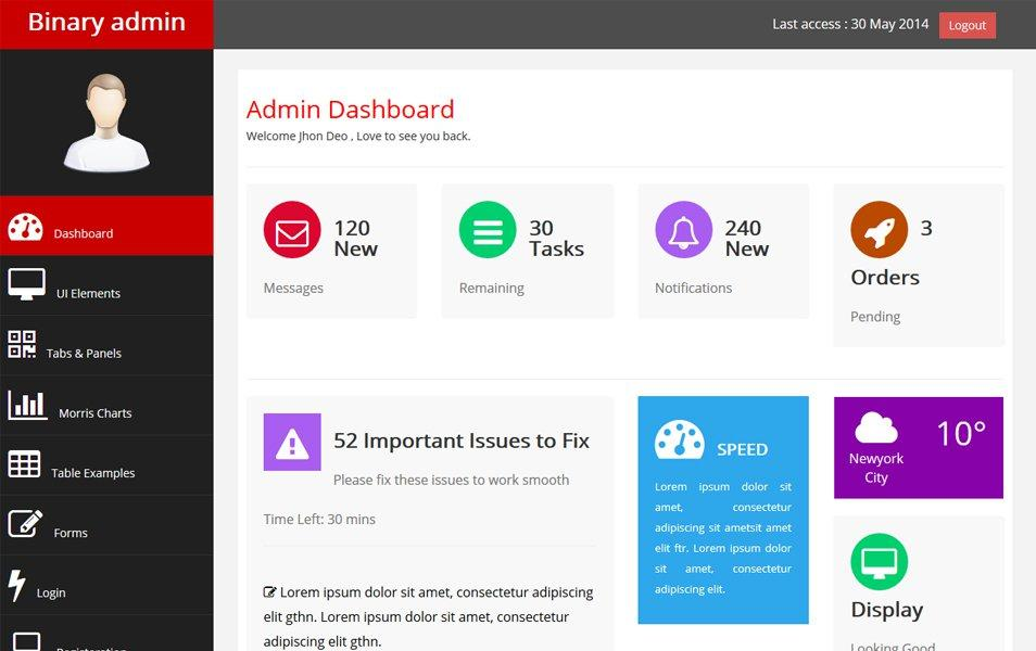 Free css html admin backend templates