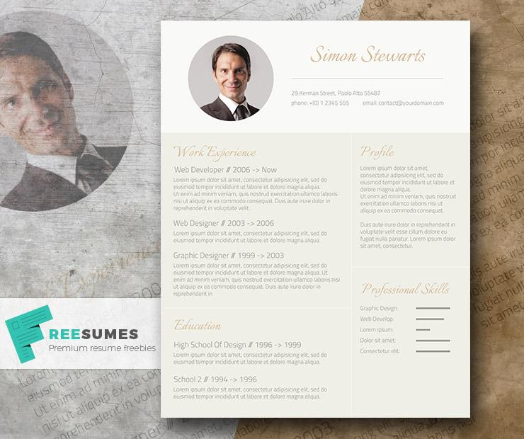 subtle gold an elegant freebie cv template